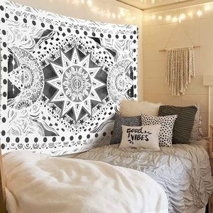 Black & White Sun and Moon Wall Hanging Tapestry